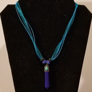 Blue Lapis Pave Crystal Pendulum Necklace